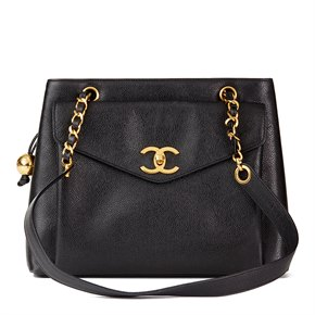 Chanel Black Caviar Leather Vintage Classic Shoulder Bag