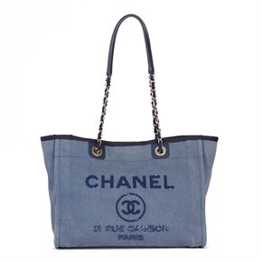 Chanel Blue Sequin Embellished Denim Small Deauville Tote