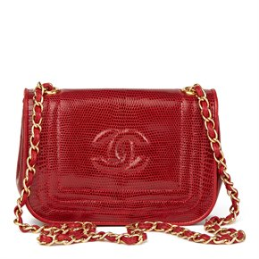 Chanel Red Lizard Leather Vintage Timeless Mini Flap Bag
