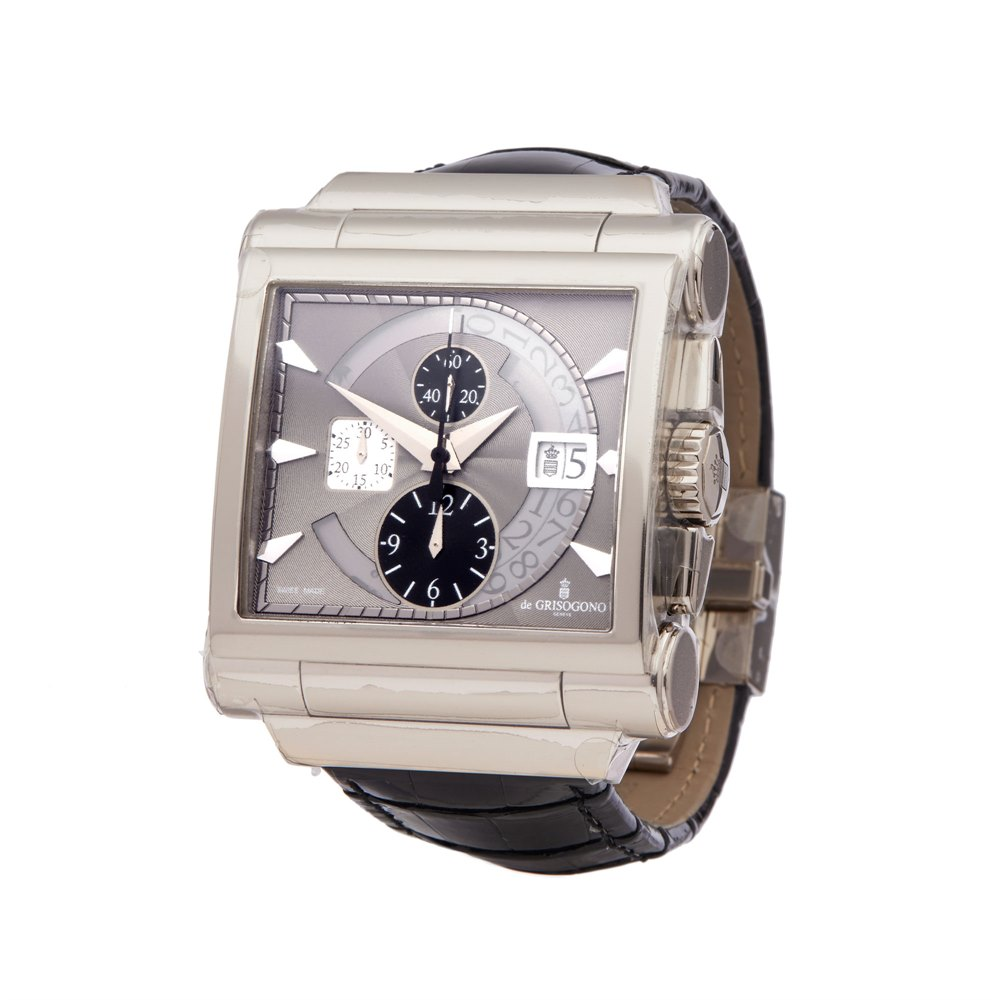 De Grisogono Grande Chrono Chronograph 18k White Gold N04