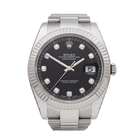 Rolex DateJust 41 Diamond Stainless Steel & White Gold - 126334