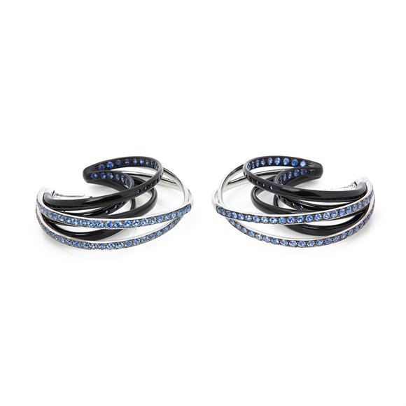 De Grisogono 18k White Gold Black & Nano-Ceramic Coating Sapphire Allegra Earrings