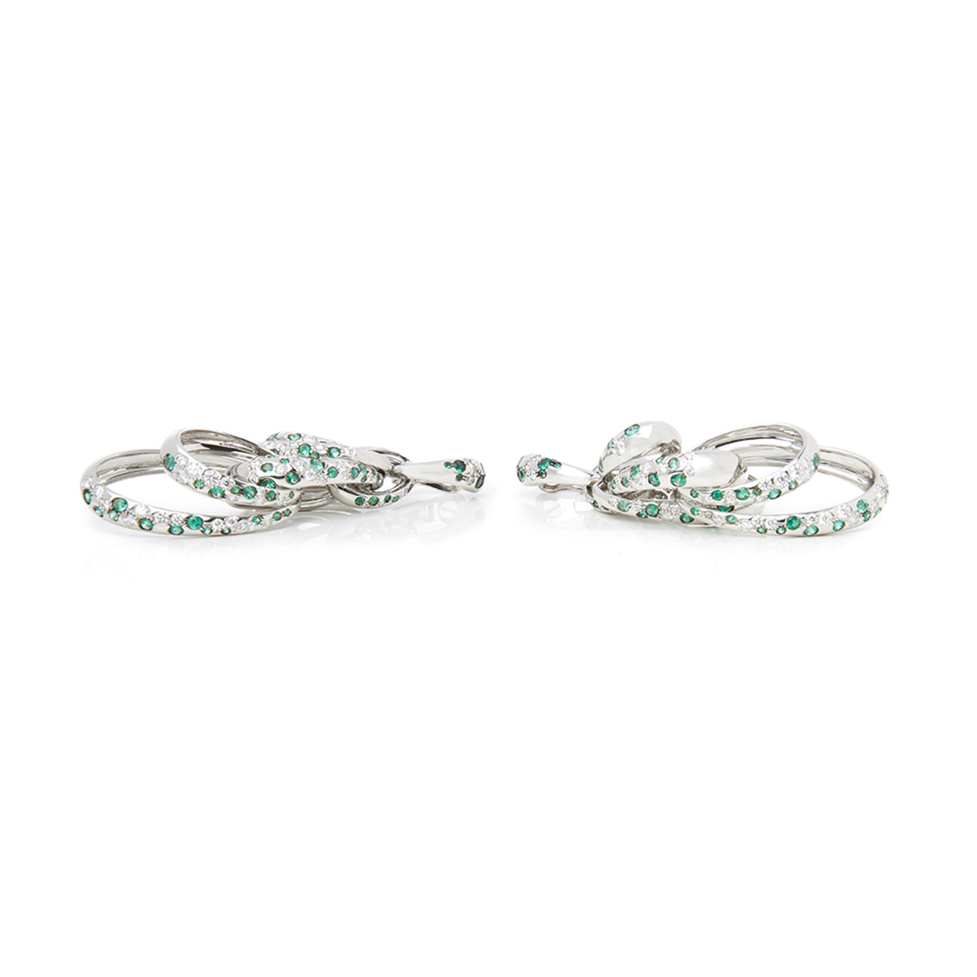 De Grisogono 18k White Gold Diamond & Emerald Drop Catene Earrings