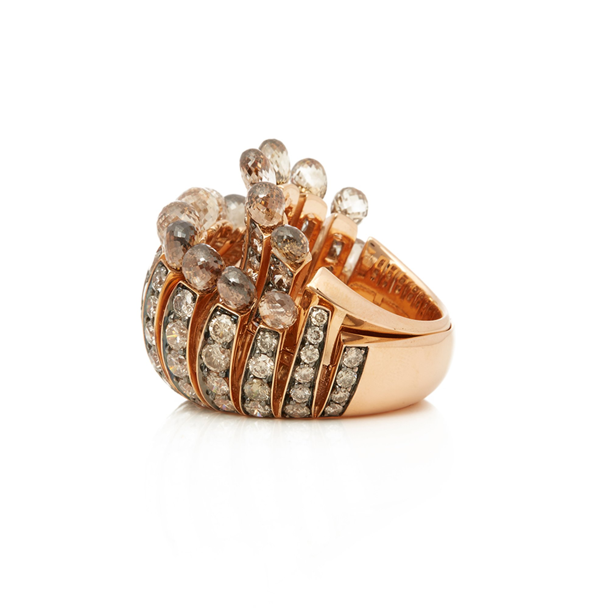 De Grisogono 18k Rose Gold Brown Diamond Frange Ring