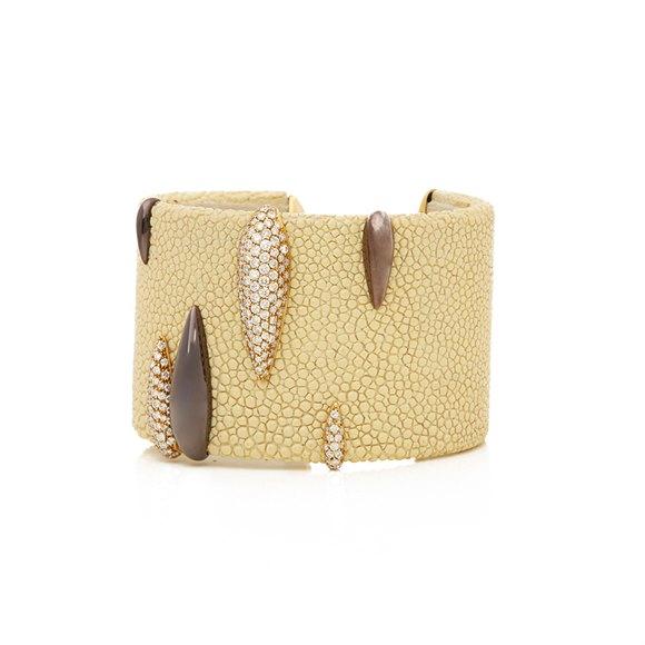 De Grisogono 18k Yellow Gold & Brown PVD Coated Diamond Galuchat Cuff Bangle