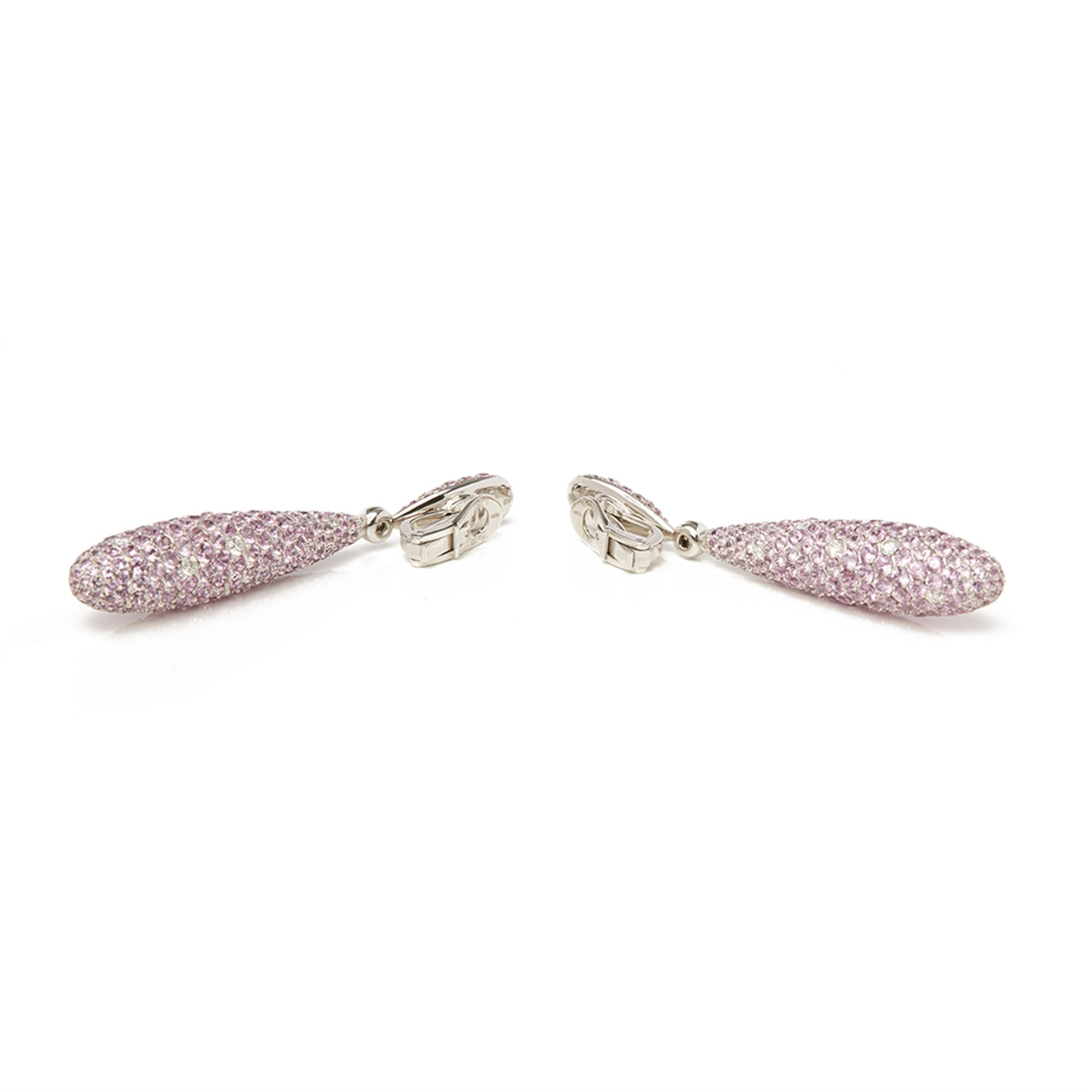 De Grisogono 18k White Gold Pink Sapphire & Diamond Gocce Earrings