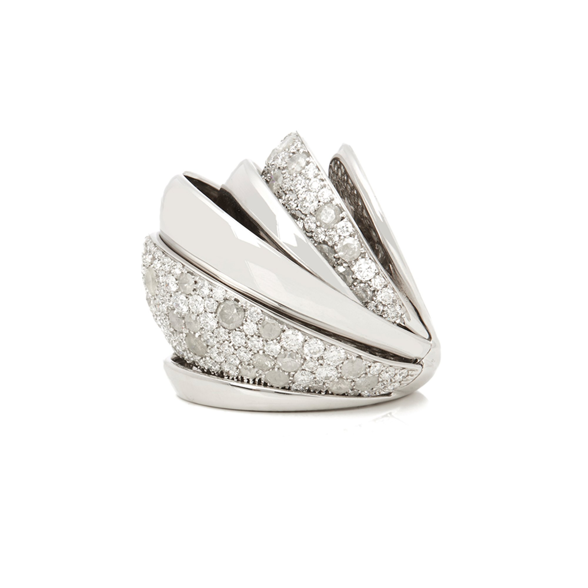 De Grisogono 18k White Gold Icy Diamond Cocktail Jane Ring