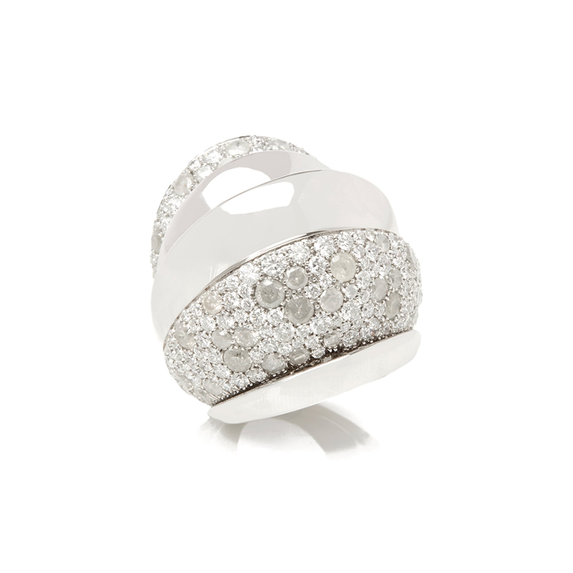 De Grisogono 18k White Gold Icy Diamond Cocktail Jane Ring