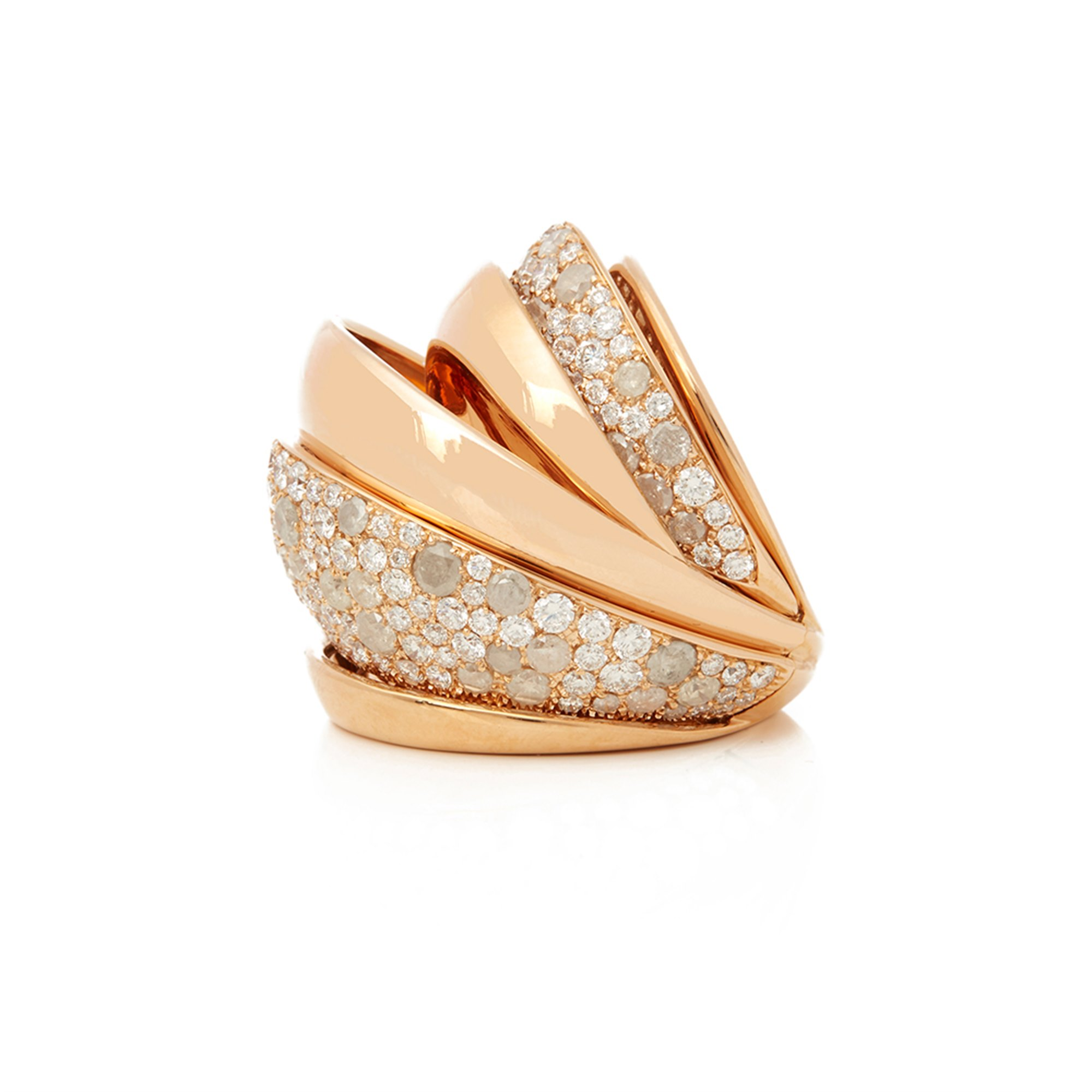 De Grisogono 18k Rose Gold Icy Diamond Cocktail Jane Ring