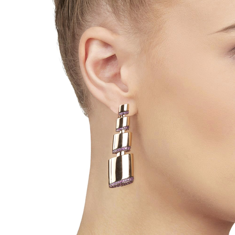 De Grisogono 18k Rose Gold Pink Sapphire Tubetto Earrings