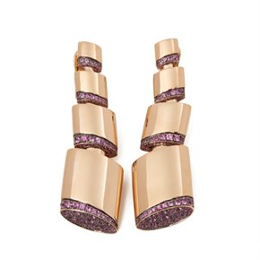 De Grisogono 18k Rose Gold Pink Sapphire Tubetto Earrings