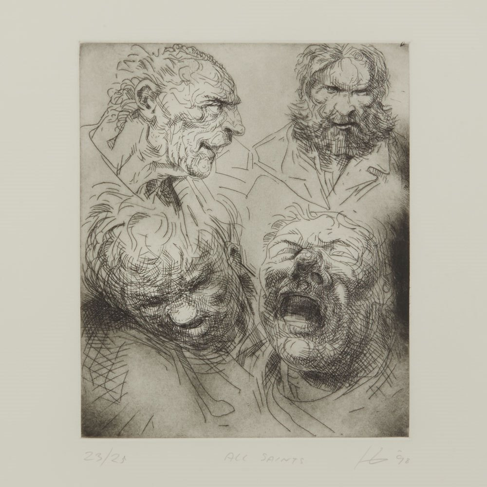 PETER HOWSON UNDERGROUND SERIES ALL SAINTS PRINT 1998 Dated 1998