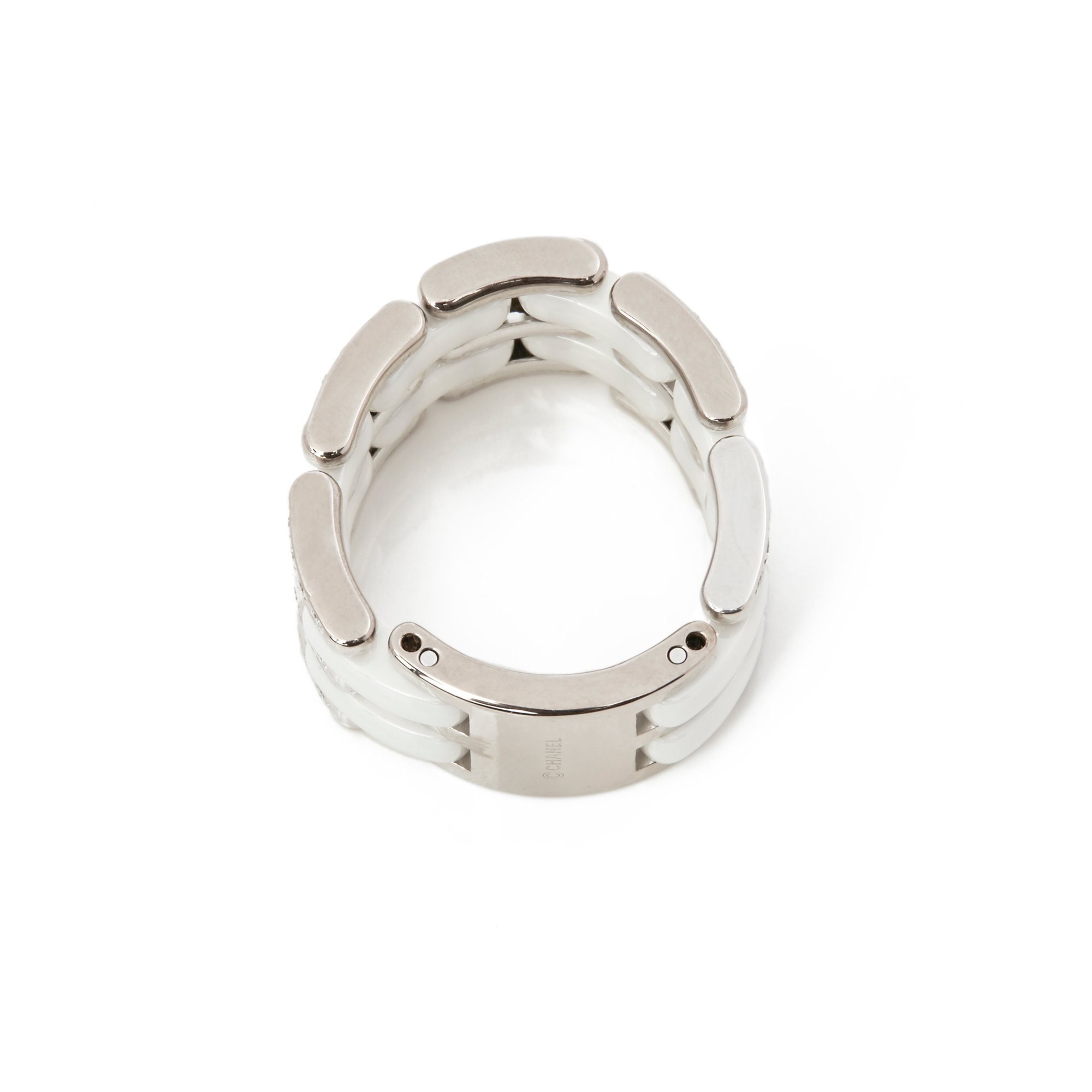 Chanel 18k White Gold White Ceramic Diamond Large Ultra Ring
