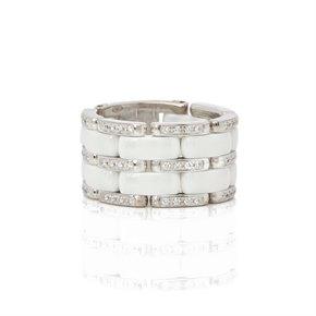Chanel 18k White Gold White Ceramic Diamond Large Ultra Ring