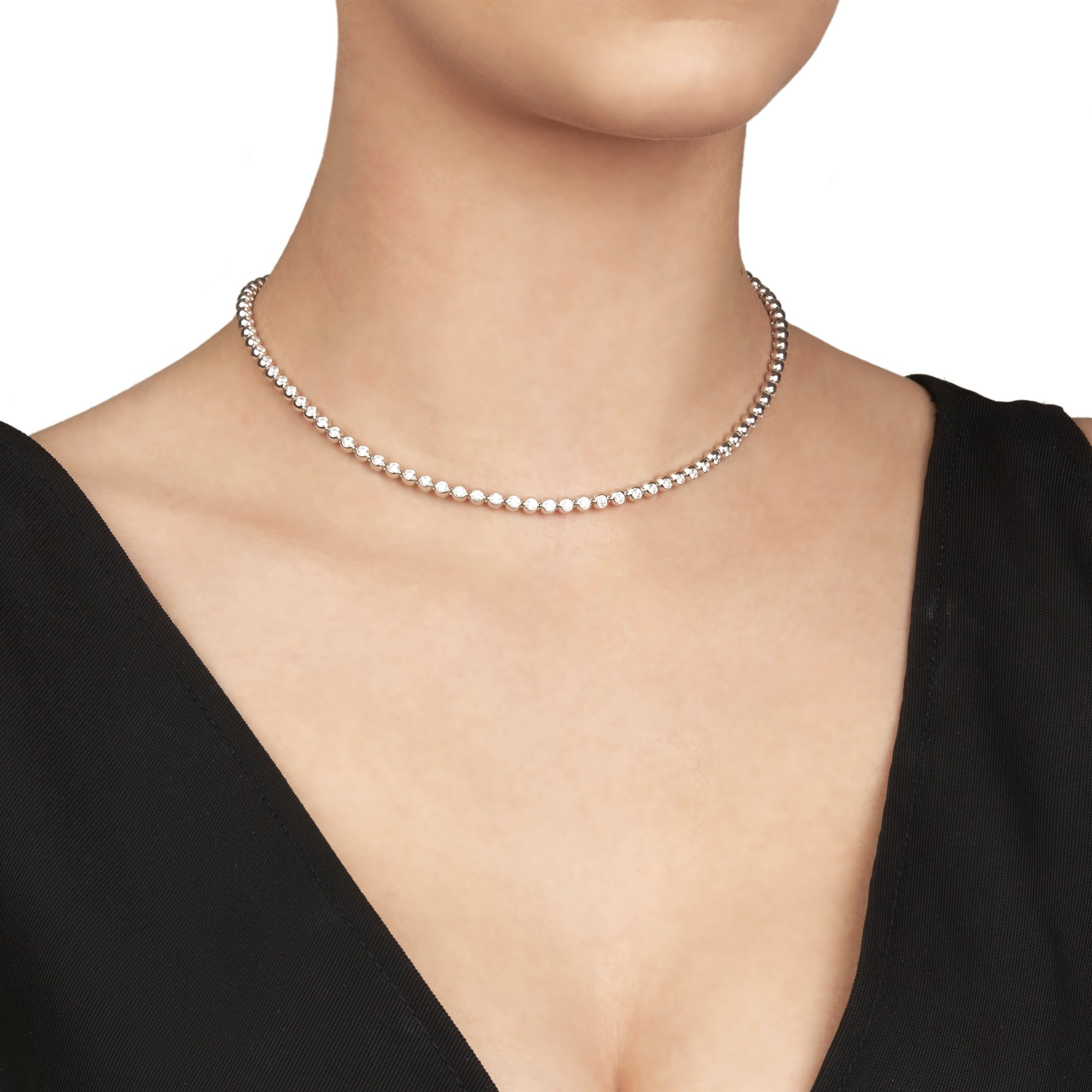 Diamanten 18k White Gold Beaded 4.50ct Diamond Necklace