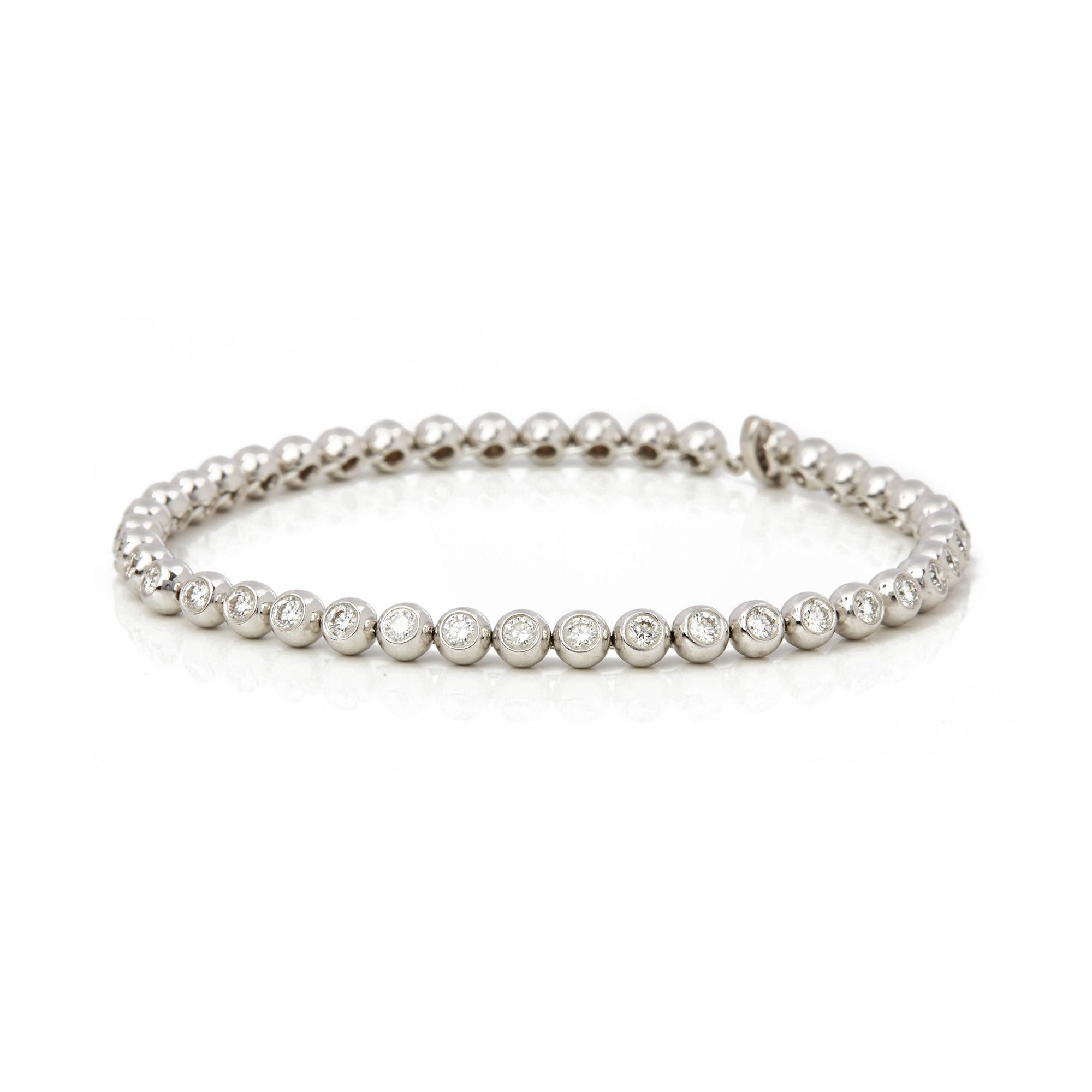 Diamanten 18k White Gold Beaded 2.00ct Diamond Bracelet