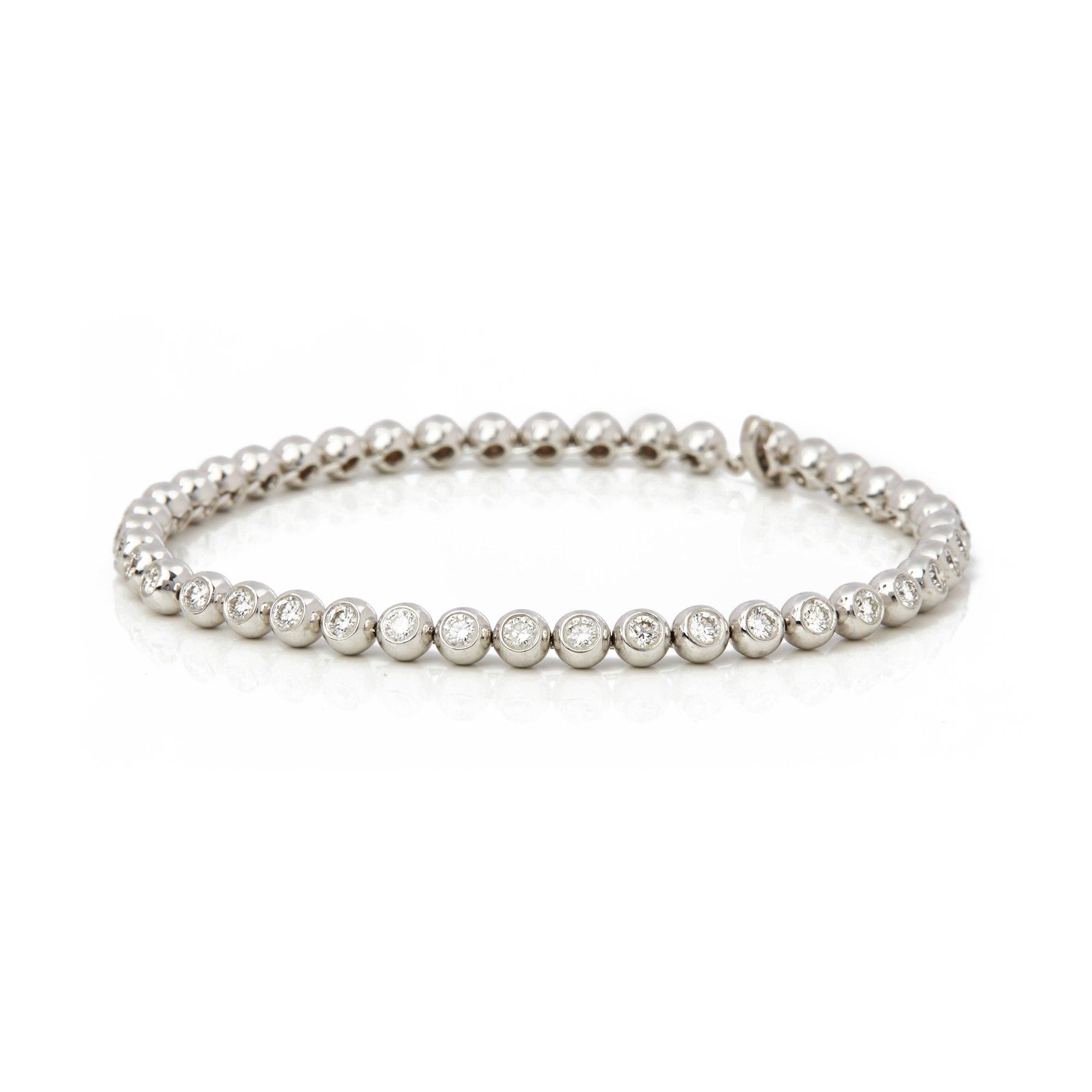 Diamond 18k White Gold Beaded 2.00ct Diamond Bracelet