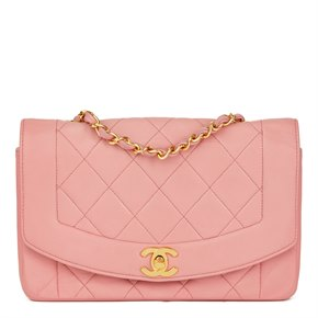Chanel Pink Quilted Lambskin Vintage Small Diana Classic Single Flap Bag