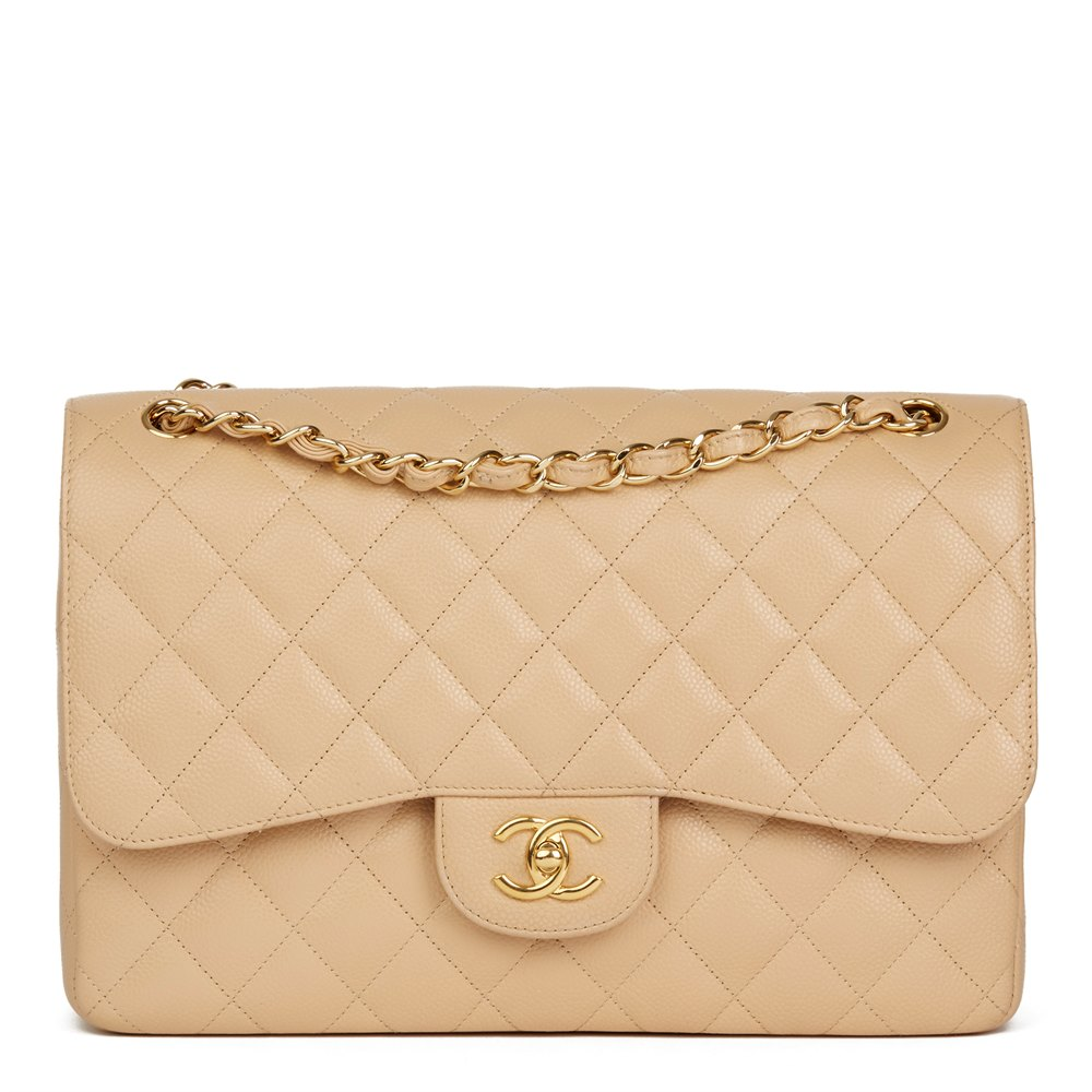 Chanel Beige Quilted Caviar Leather Jumbo Classic Double Flap Bag 1d45d16d39cb1