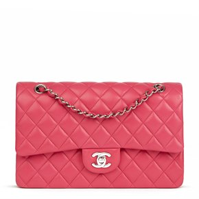 Chanel Fuchsia Quilted Lambskin Medium Classic Double Flap Bag