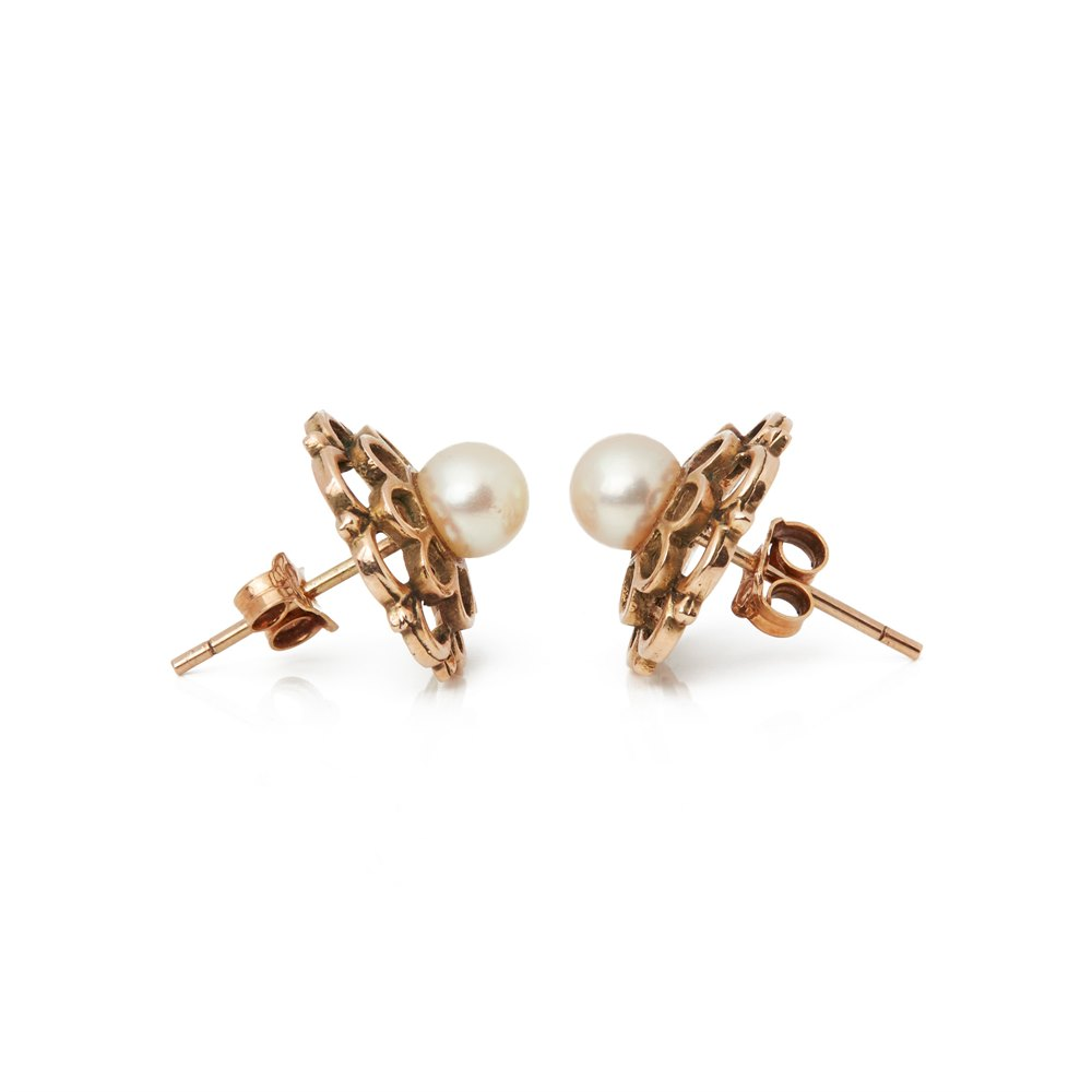 Cultured Pearl 9k Rose Gold Pearl Stud Earrings
