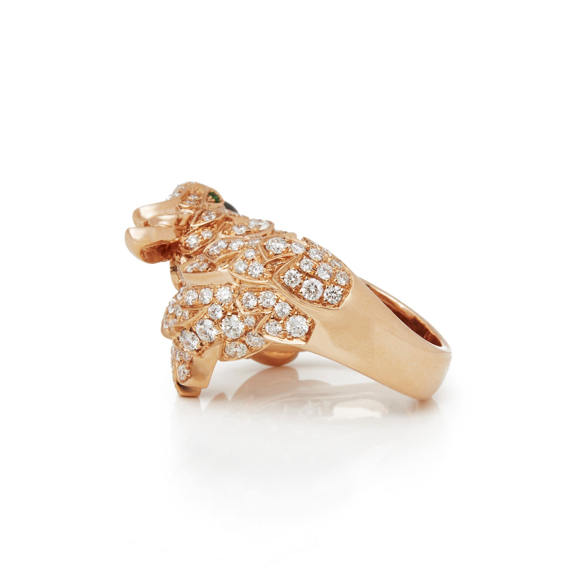 Cartier 18k Rose Gold Mother Of Pearl, Diamond & Emerald Les Oiseaux Libérés Ring