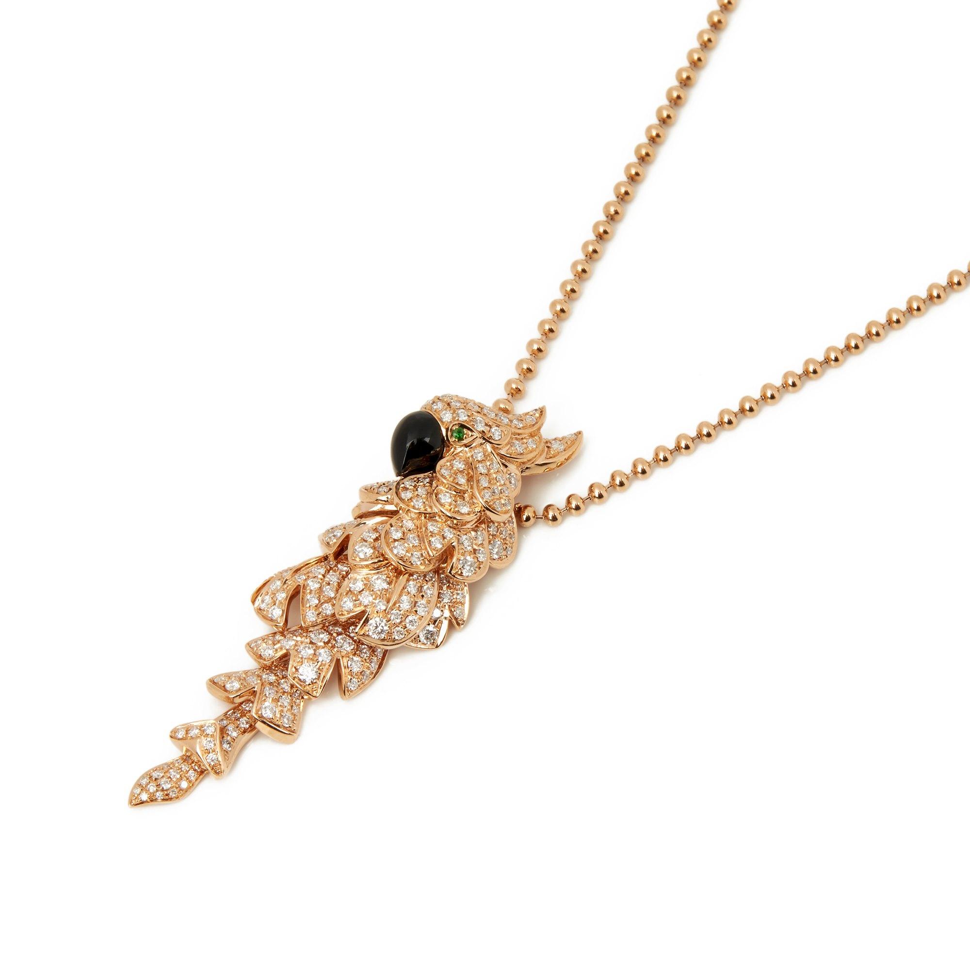 Cartier 18k Rose Gold Mother Of Pearl, Diamond & Emerald Les Oiseaux Libérés Necklace