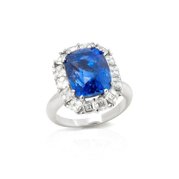 18k White Gold 12.54ct Sapphire & Diamond Cocktail Ring