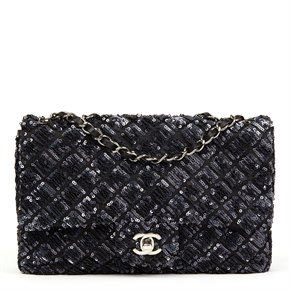 Chanel Navy Sequin Embellished Classic Single Flap Bag