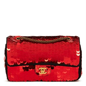 Chanel Black Satin & Red Sequin Embellished Paris-Shanghai Medium Classic Double Flap Bag