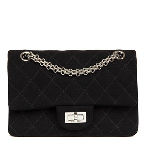 Chanel Black Quilted Jersey Fabric 2.55 Reissue 224 Double Flap Bag