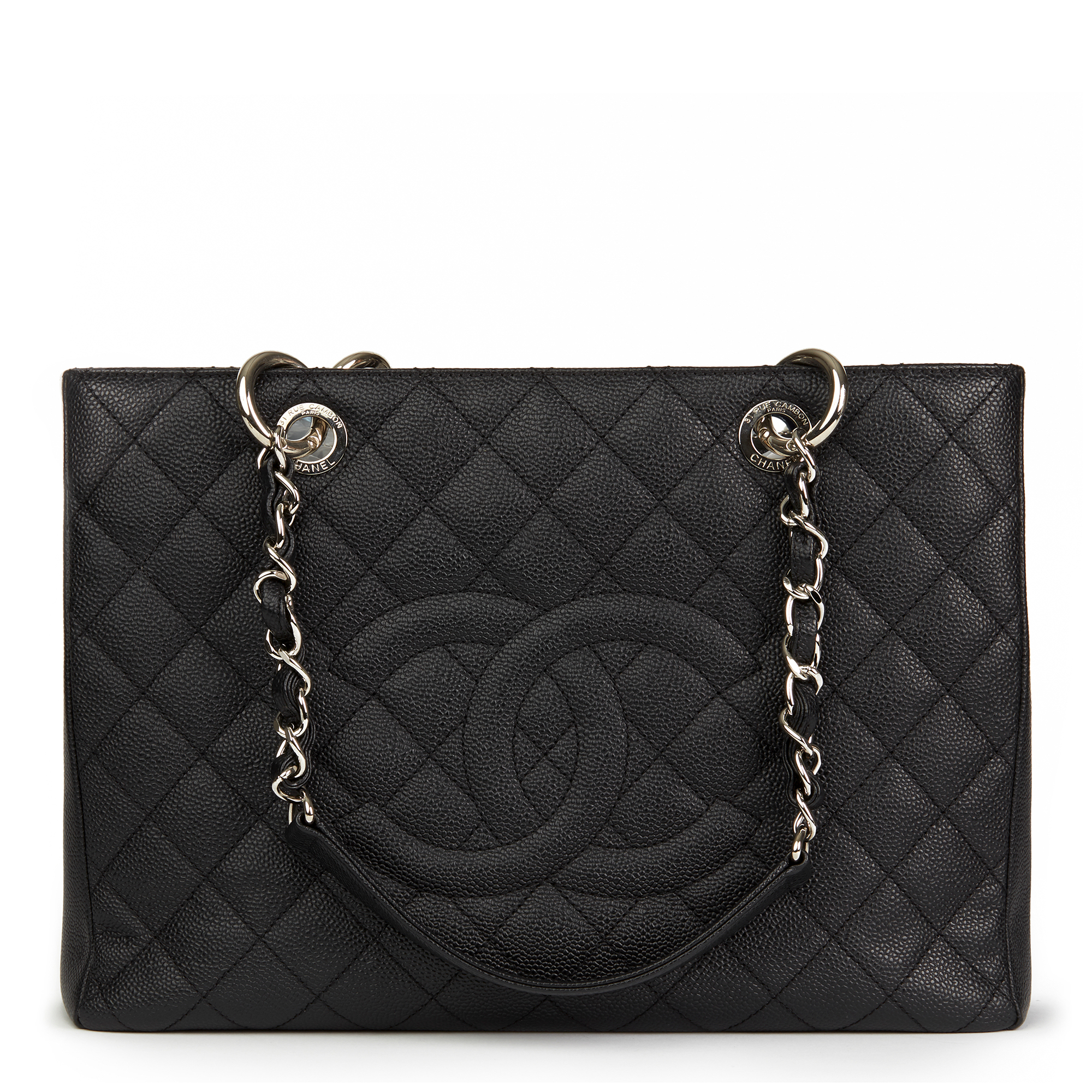 b5bf45a4eb01 CHANEL BLACK QUILTED CAVIAR LEATHER GRAND SHOPPING TOTE GST HB2451 ...