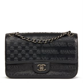 Chanel Black Embossed & Quilted Calfskin Leather Paris-Dallas Classic Single Flap Bag