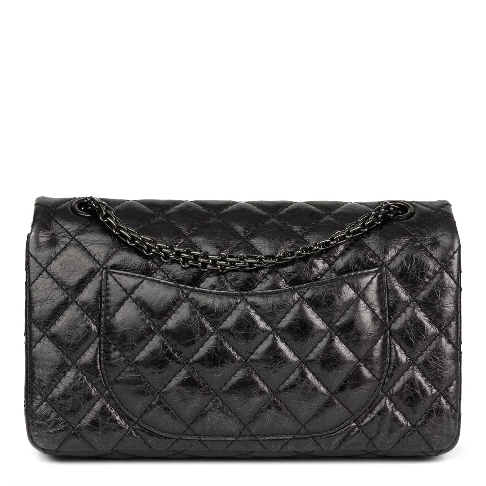 3cf37a8a2f06 Chanel Black Quilted Glazed Calfskin Leather SO Black 2.55 Reissue 225  Double Flap Bag