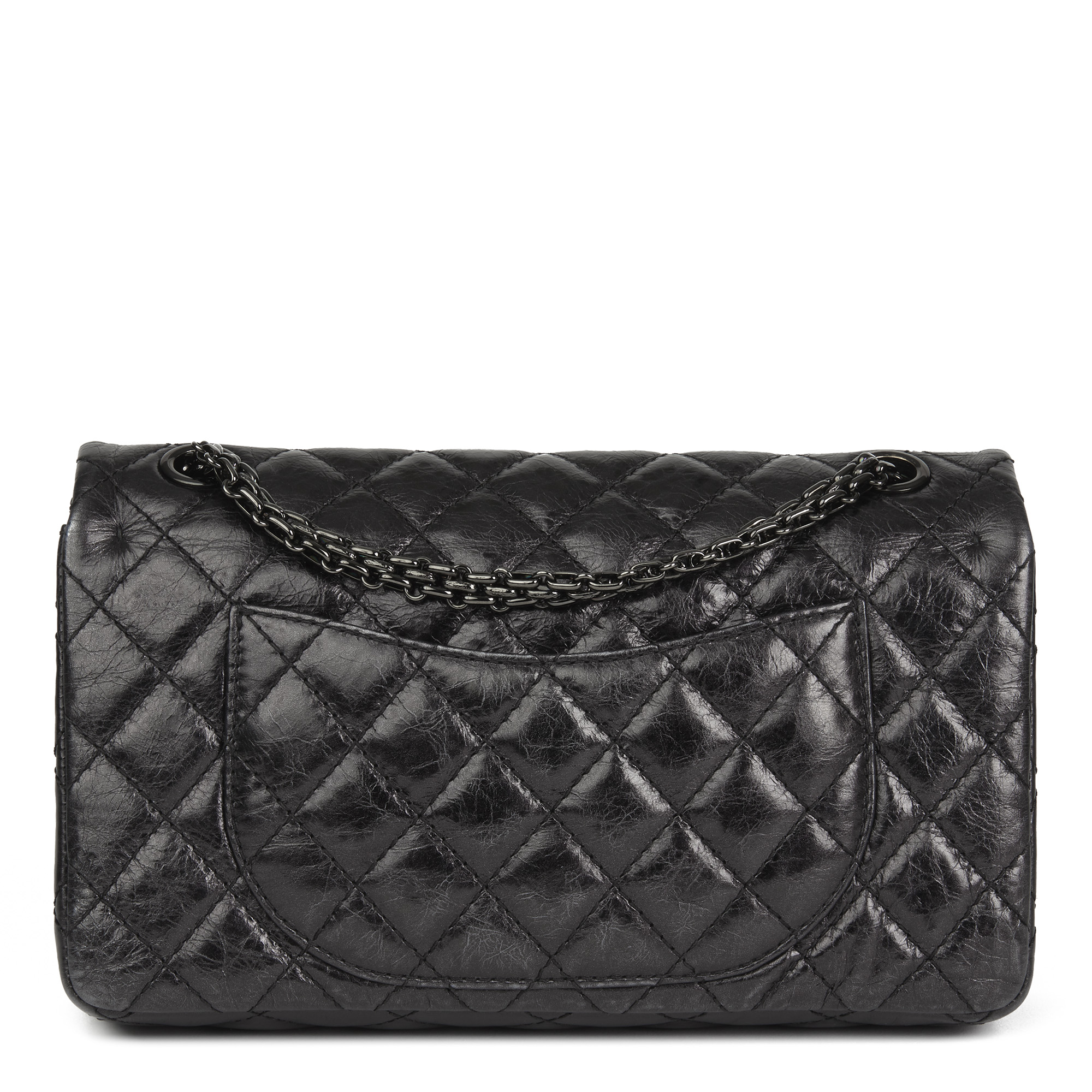 Details about CHANEL BLACK QUILTED GLAZED CALFSKIN LEATHER SO BLACK 2.55  REISSUE 225. 6fbf5e39f1fd5