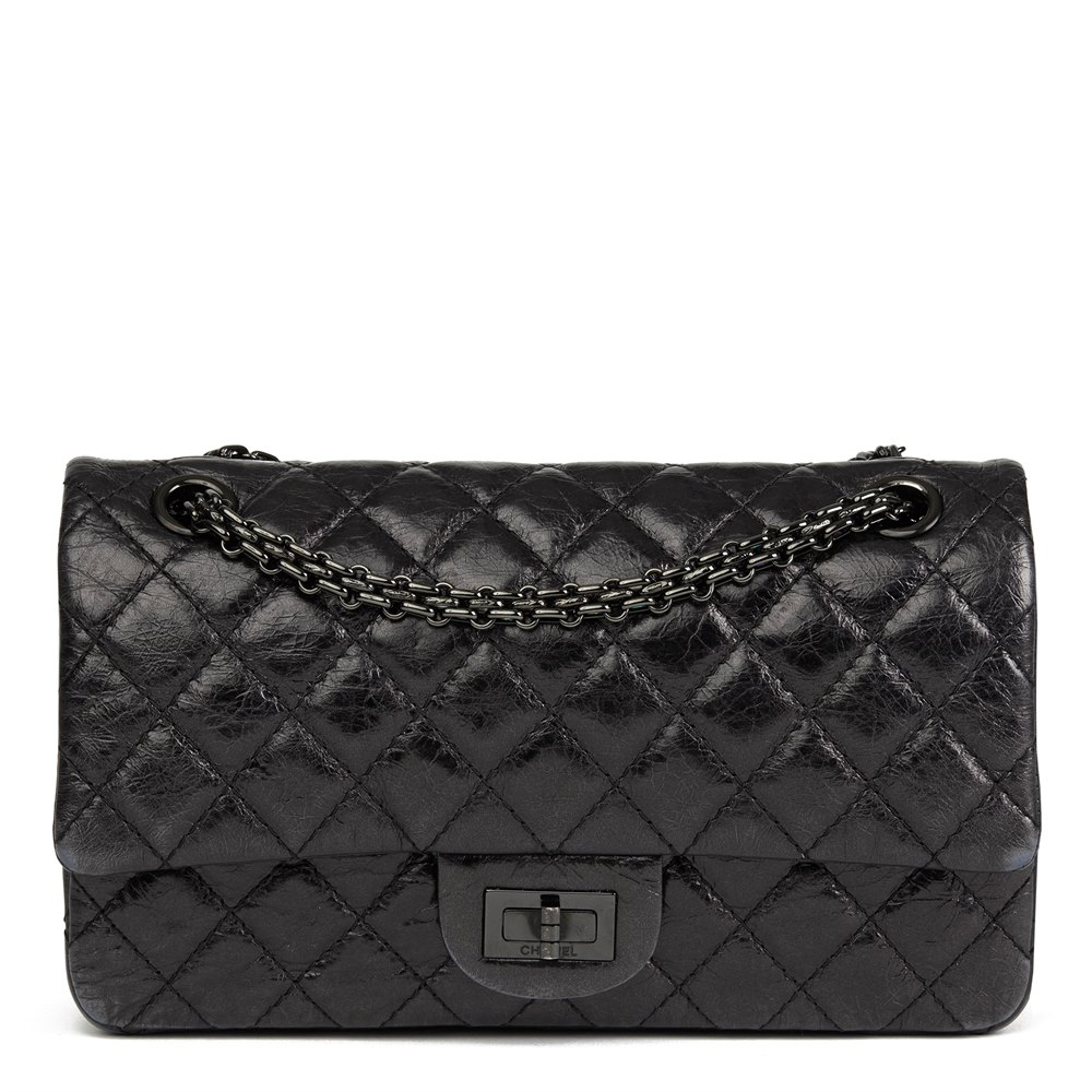 98b2a47cd58a Chanel Black Quilted Glazed Calfskin Leather SO Black 2.55 Reissue 225  Double Flap Bag