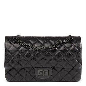 Chanel Black Quilted Glazed Calfskin Leather SO Black 2.55 Reissue 225 Double Flap Bag