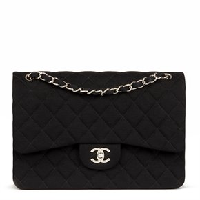 Chanel Black Quilted Jersey Fabric Jumbo Classic Double Flap Bag