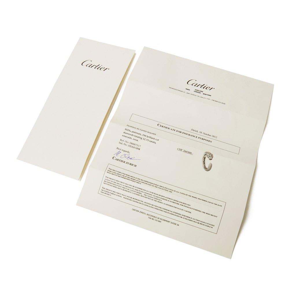 Cartier Platinum Diamond, Emerald & Onyx Panthère de Cartier Bracelet
