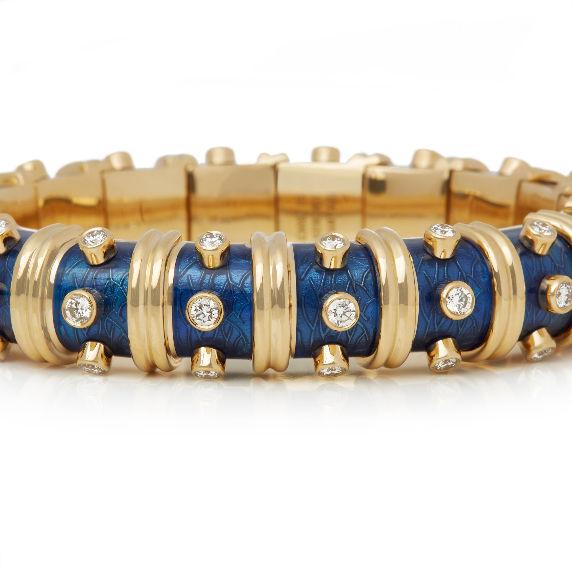 Tiffany & Co. 18k Yellow Gold Diamond & Blue Enamel Schlumberger Bracelet