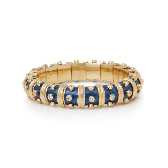 Tiffany & Co. 18k Yellow Gold Diamond & Blue Enamel Schlumberger Bracelet