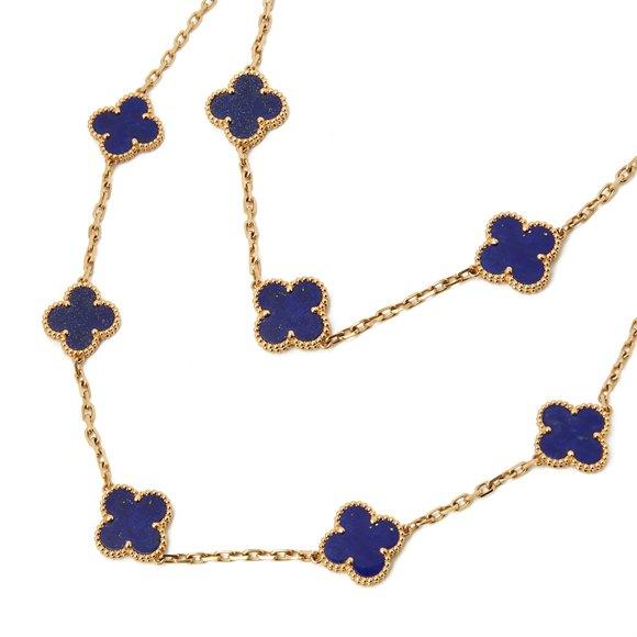 Van Cleef & Arpels 18k Yellow Gold Lapis Lazuli 20 Motif Vintage Alhambra Necklace