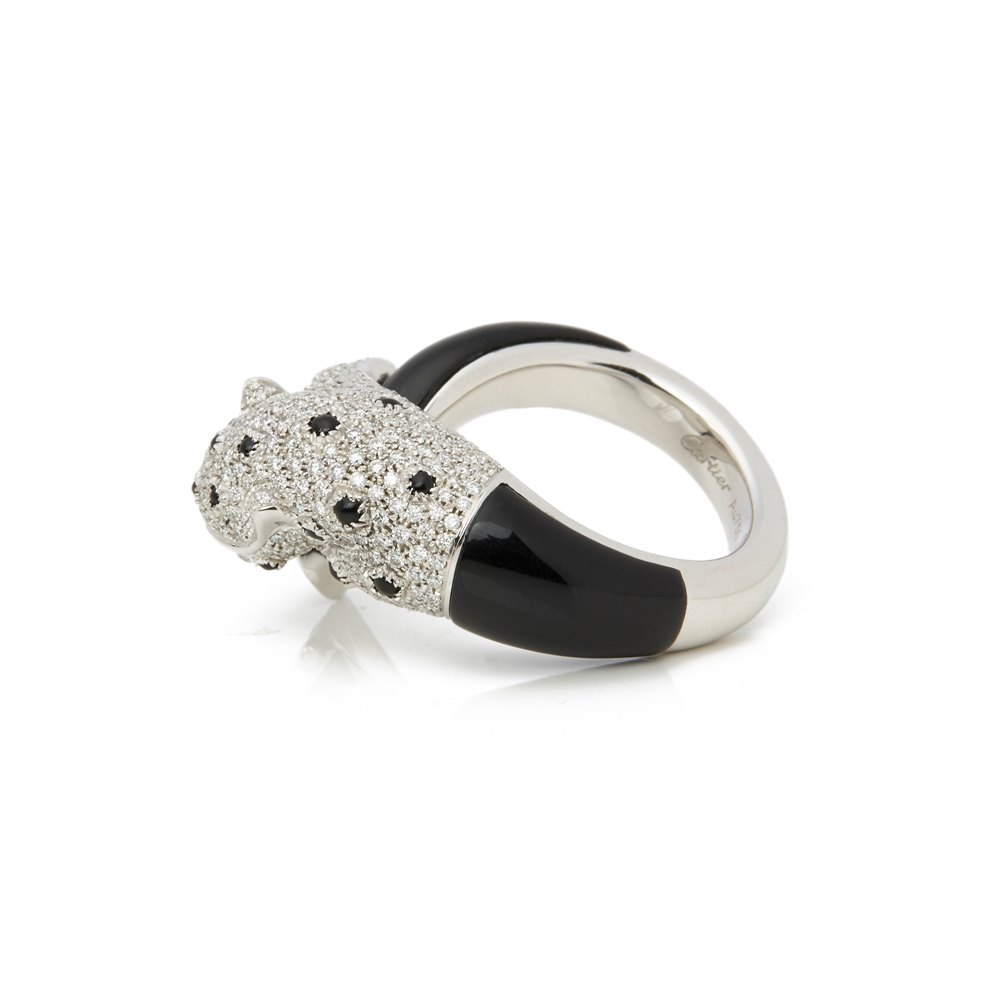 Cartier 18k White Gold Diamond, Emerald & Onyx Panthère Ring