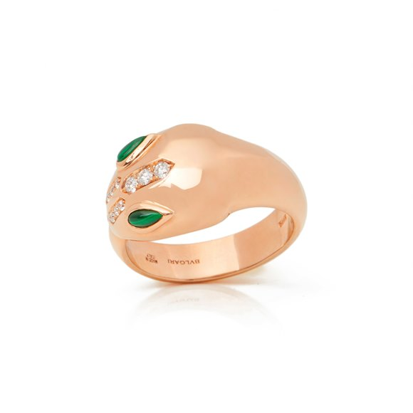 Bulgari 18k Rose Gold Diamond & Malachite Serpenti Ring
