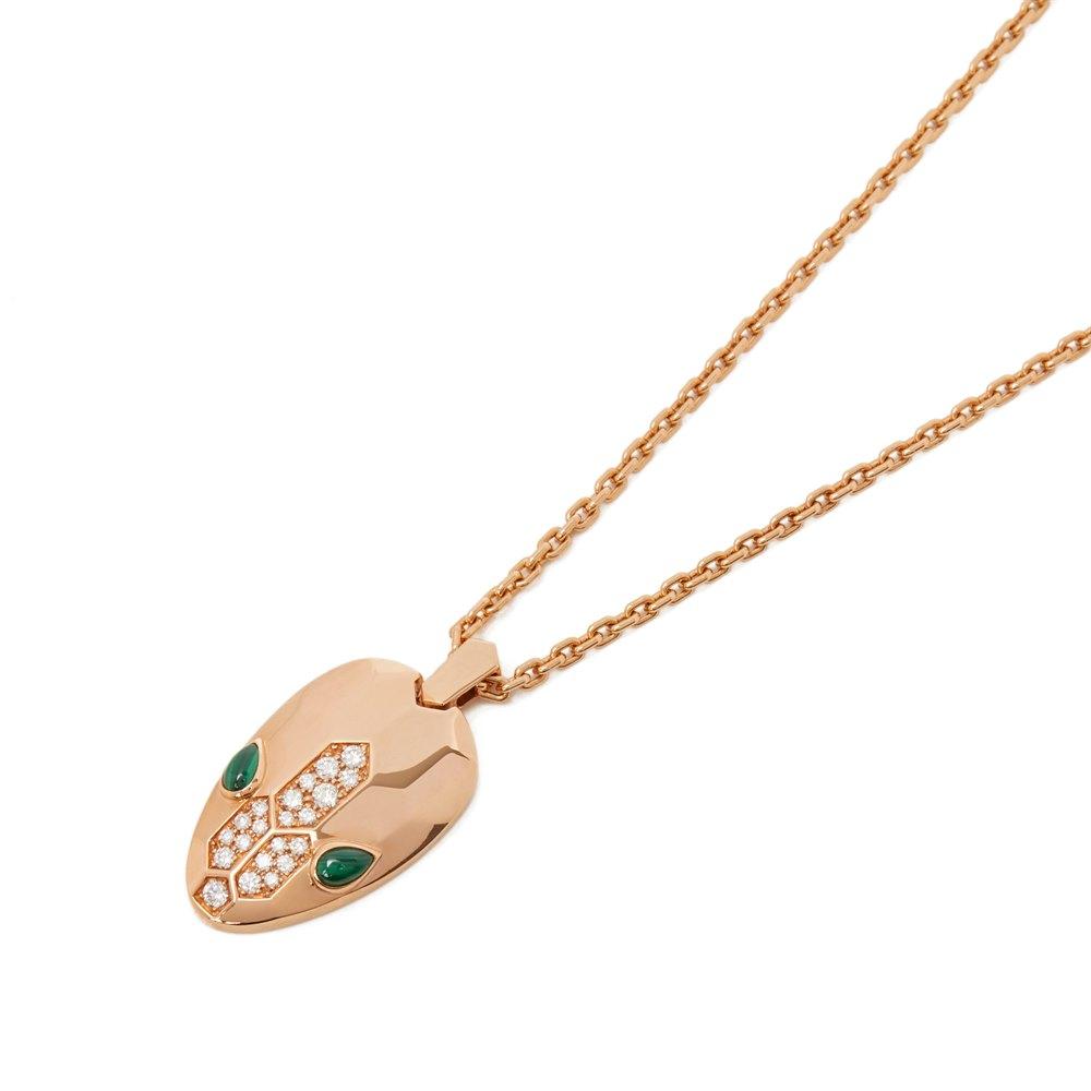 Bulgari 18k Rose Gold Diamond & Malachite Serpenti Necklace