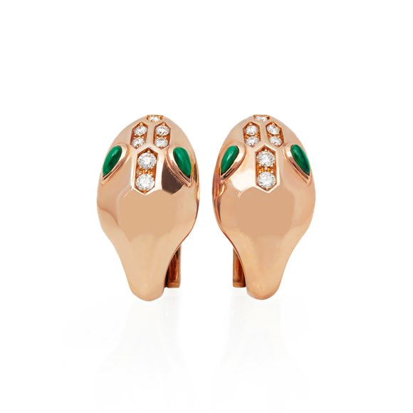 Bulgari 18k Rose Gold Diamond & Malachite Serpenti Earrings