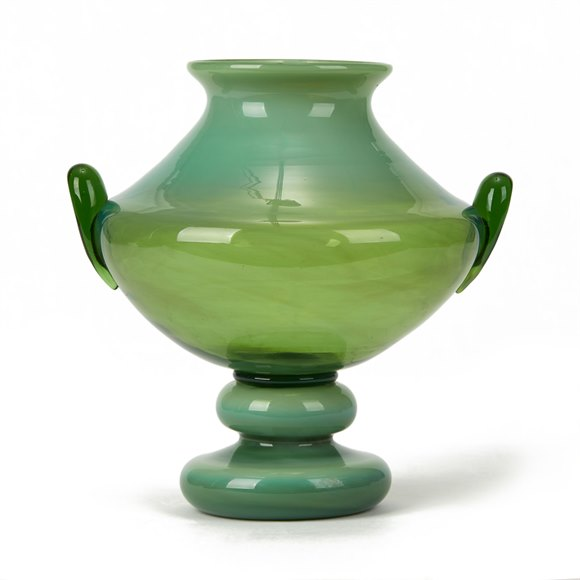 MURANO TWIN HANDLED ART GLASS PEDESTAL VASE 20TH C.