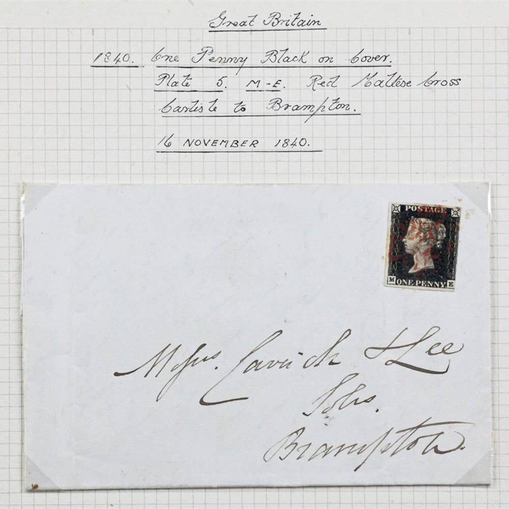 GB QV ONE PENNY BLACK ON ORIGINAL COVER 1840