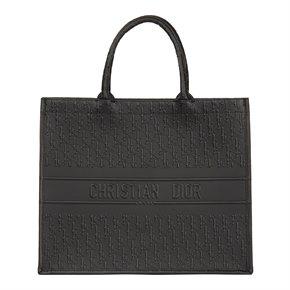 Christian Dior Black Oblique Embossed Calfskin Leather Book Tote