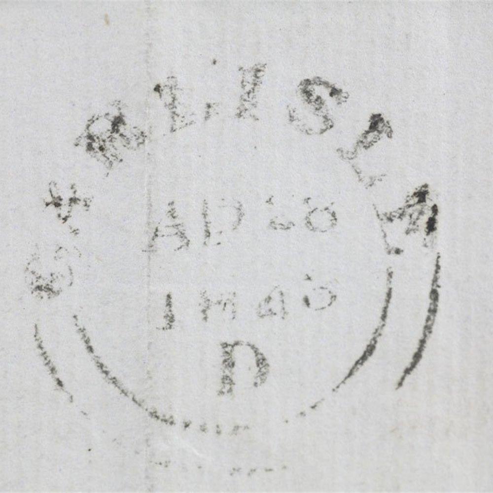 Gb Qv Two Penny Blue Strip Of Four On Original Cover Carlisle To Brampton 1843
